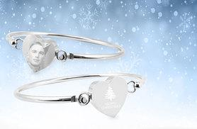£18 instead of £52.99 (from British Gem) for a personalised heart Christmas bangle - give your loved one a festive treat and save 66%