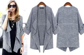 £10 instead of £39.99 (from EFMall) for a women's loose fitting grey coat - choose from UK sizes 10-24 and save 75%