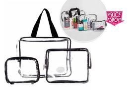£2.99 instead of £16.81 for a clear three-piece makeup travel bag set - save 82%