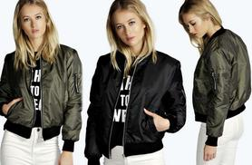£9.99 instead of £35.99 (from EFMall) a women's bomber jacket – choose from black and khaki and save 72%