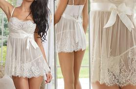 £6 instead of £24.99 (from EFMall) for a white lace babydoll and G-string set - look out of this world and save 76%