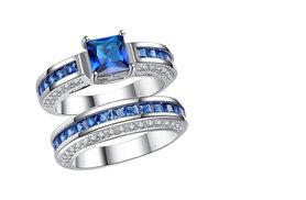 £19.99 instead of £299 (from Clear Crystal) for a blue lab-created sapphire princess cut ring - treat someone special and save 94%