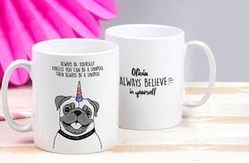 £5.99 instead of £12.95 (from The Little Picture Company) for a personalised 'Be a Unipug' mug - save 54%