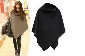 £10.99 instead of £66 (from EFMall) for a women's cowl neck poncho – choose from black or beige and save 83%