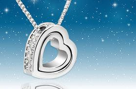 £9.99 instead of £49 (Your Ideal Gift) for a double heart pendant necklace made with Swarovski crystals - save 80%