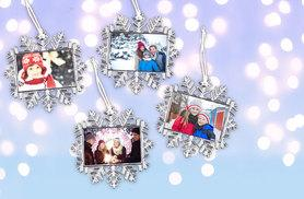 £14 instead of £24.99 (from Smiley Hippo) for a set of four snowflake photo ornaments - let it snow and save 44%
