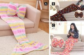£12.99 (from EFMall) for a 130cm mermaid blanket and bow cushion, £16.99 for a 180cm blanket and bow cushion - save up to 74%