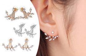 £5 instead of £49 (from Styled By) for a pair of double crystal leaf earrings, or £12 for a set of three - choose gold, silver or rose gold-plated and save up to 90%