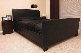 £69 instead of £599.99 (from Furniture Italia) for a double faux leather sleigh bed, £89 for a king bed - save up to 88%