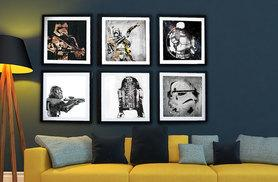 £5.99  (from Art Fly) for a standard (25cm x 25cm) framed Star Wars art print or £10.99 for a large (38cm x 38cm) print