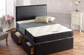 From £129 (from Cheap Mattresses) for a black faux leather divan bed with mattress, from £149 for a bed with mattress and two drawers - save up to 82%