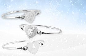 £14 instead of £49.99 (from British Gem) for a stainless steel personalised heart bangle, £18 for a Christmas bangle - capture memories and save 72%