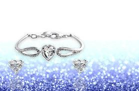 £12 instead of £69 (from Styled By) for a crystal infinity heart bracelet and earring set - save 83%