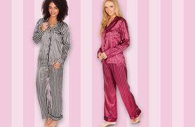 £12 instead of £44.99 (from Who Runs The World) for a pair of luxury satin striped pyjamas - choose from two colours and save 73%