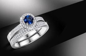 £12 instead of £129.99 (from Fakurma) for a white gold-plated simulated sapphire ring set - sparkle and save 91%