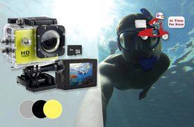 £14.99 instead of £89.99 (from Tomllo) for a 720p 'waterproof' HD action camera, £19.99 for a 1080p camera - choose from three colours and save up to 83%