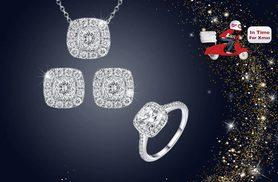 £12 instead of £229.99 (from Fakurma) for a simulated white sapphire tri jewellery set - save 95%