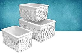 £14.99 instead of £48.99 (from Funky Buys) for a set of three white wicker storage baskets - use your space wisely and save 69%