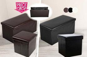 £6 instead of £25.99 (from E4Emporium) for a small ottoman faux leather folding storage seat, £12 for large - choose white, black or brown and save up to 77%