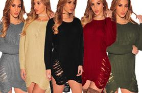 £16 instead of £44.99 (from Who Runs The World) for a ladies' ripped jumper dress - choose from five colours and save 64%