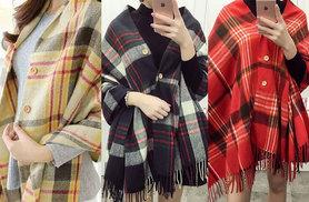 £10 instead of £59 (from Bonicaro) for a tartan oversized cape - choose from three colours and save 83%