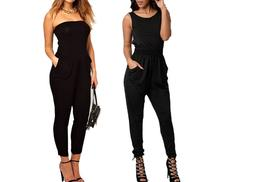 £12 instead of £89 (from Boni Caro) for a stylish women's black strapless or criss-cross jumpsuit - save 87%