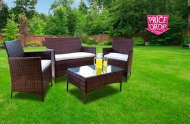 £79 (from Dining Tables) for a four-piece brown rattan garden furniture set - save 87%