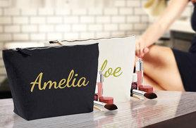 £8 instead of £19.99 (from Treats On Trend) for a personalised makeup bag - choose black or beige, add up to 10 characters and save 60%