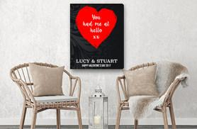 £5.99 instead of £29.99 (from Deco Matters) for an A4 personalised Valentine's canvas, A3 for £8.99 and A2 for just £11.99 - save up to 80%