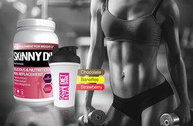 £19 (from Skinny Diva) for a 980g tub of Diet Whey Max meal replacement complex and a shaker, £40 for three - choose from three flavours and save up to 52%
