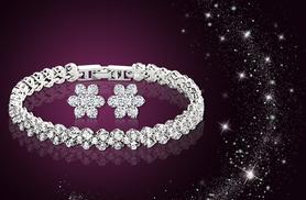 £10 instead of £65 (from Elle and Be) for a tennis bracelet made with Swarovski Elements and matching flower stud earrings - save 85%