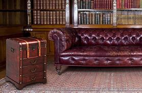 £69 for a stylish vintage leather-effect trunk cabinet with four compartments and drawers from Wowcher Direct