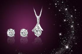 £10 instead of £99.99 (from Simply Jewellery) for a silver-plated solitaire duo set made with Swarovski Elements - save 90%