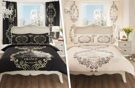 £9.99 for a Paris script duvet set, £12.99 for a double, £14.99 for king or £16.99 for super king from Wowcher Direct