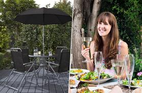 £69.99 instead of £165.99 (from Groundlevel) for 6pc garden furniture set inc. parasol and 4 garden chairs - save 58%