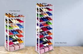 £6.99 instead of £39.99 (from Groundlevel.co.uk) for a 7-tier shoe rack, £9.99 for a 10-tier rack - choose black or white & save up to 83%
