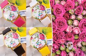£7 instead of £39 (from Elle and Be) for a leather floral summer watch - choose from 4 colours and save 82%