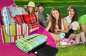 £8 (from Groundlevel.co.uk) for a large fleece picnic blanket, £12 for 2,  or £10 for an extra large blanket, £18 for 2 - choose from 8 designs and save up to 73%