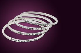 £7.99 instead of £59 (from Bijou Amour) for a set of four sterling silver-plated poetry bangles - save 86%