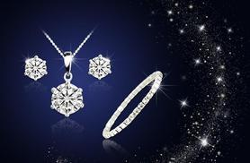 £12 (from Your Ideal Gift) for an 18k white gold-plated solitaire tri set made with Swarovski Elements