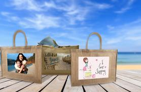 £9.99 instead of £20.99 (from Great Photo Gifts) for a personalised photo jute beach bag - save 52%