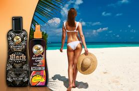 £9.99 for an Australian Gold 'Dark Tanning' accelerator bronzing lotion spray, £12.99 for a 'Sinfully Black' 15x dark bronzing lotion sunbed cream - save up to 50%