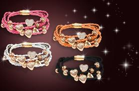 £6 instead of £24.95 (from Simply 18K) for a faux leather bracelet with heart charms and Swarovski Elements or £10 for two - save up to 76%