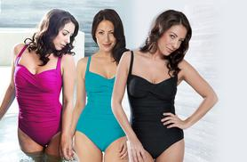 £19.99 instead of £39.99 for a 'slimming' womens' swimsuit in a choice of 3 colours from Wowcher Direct - save 50%