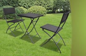 £59 instead of £126.99 for a three-piece rattan bistro dining set in black or brown, £99 for a rattan lounge bed, £109 to include a canopy