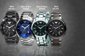 £175  (from Gray Kingdom) for a men's silver or black Emporio Armani watch - save up to 52%