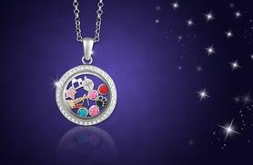 £10 instead of £49.99 (from Wowcher Direct) for a clear circular locket with 10 charms, made with Swarovski Elements - save 80%