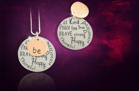 £6 instead of £30 (from Cian Jewels) for a 'Be' inspirational pendant necklace - save 80%