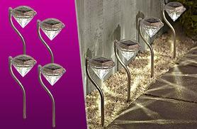 £8.99 instead of £24.99 (from Zoozio) for four stainless steel solar diamond stake lights, or £11 for four colour stake lights - save up to 64%