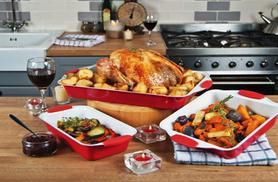 £12.99 instead of £24.99 (from Good Ideas) for a set of 3 ceramic roasting tins in a choice of red or black - save 48%